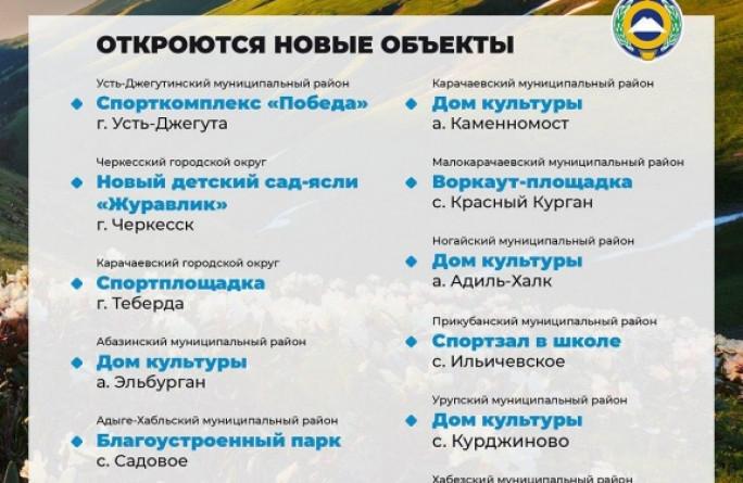 В День республики в Карачаево-Черкесии впервые одновременно откроются 12 социальных объектов – во всех городах и районах КЧР
