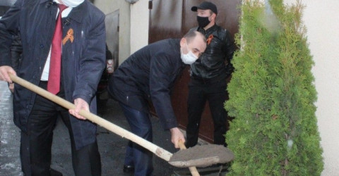В Малокарачаевском районе около дома ветерана войны Даута Темирболатова посадили вечнозеленые туи